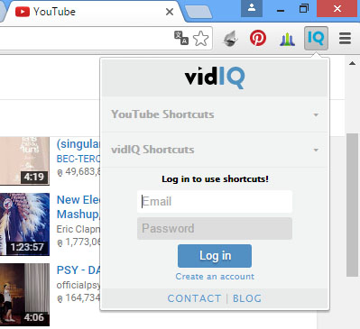 login vidIQ youtube
